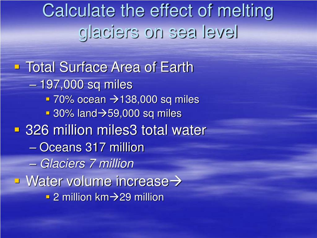 Calculate the effect of melting glaciers on sea level