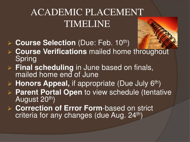 ACADEMIC PLACEMENT