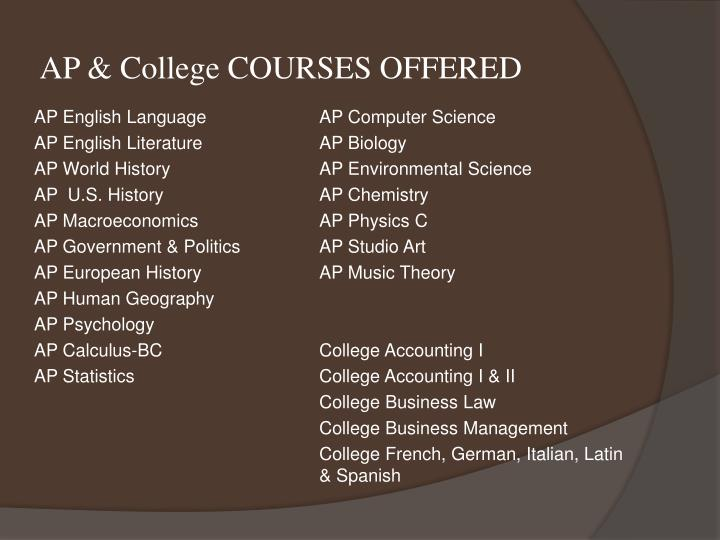 AP & College COURSES OFFERED