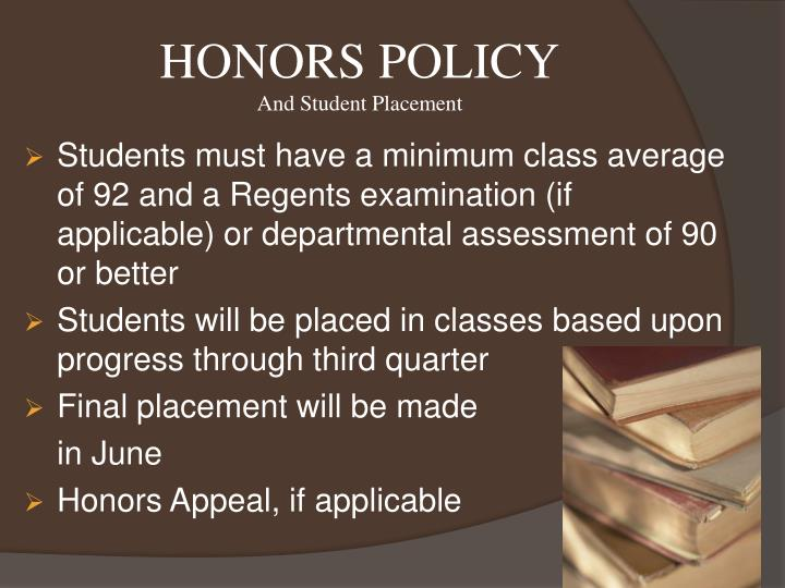 HONORS POLICY