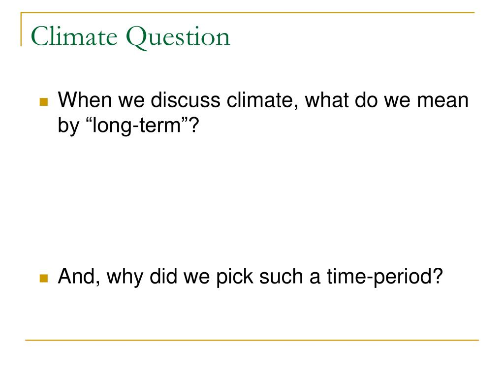 Climate Question
