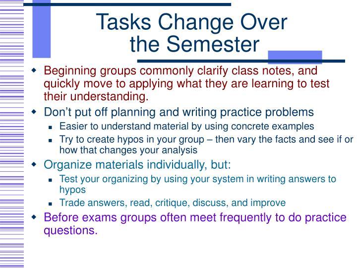 Tasks Change Over