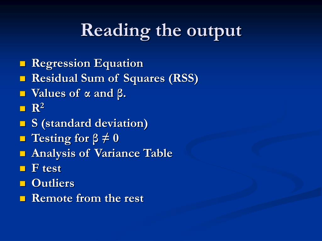 Reading the output