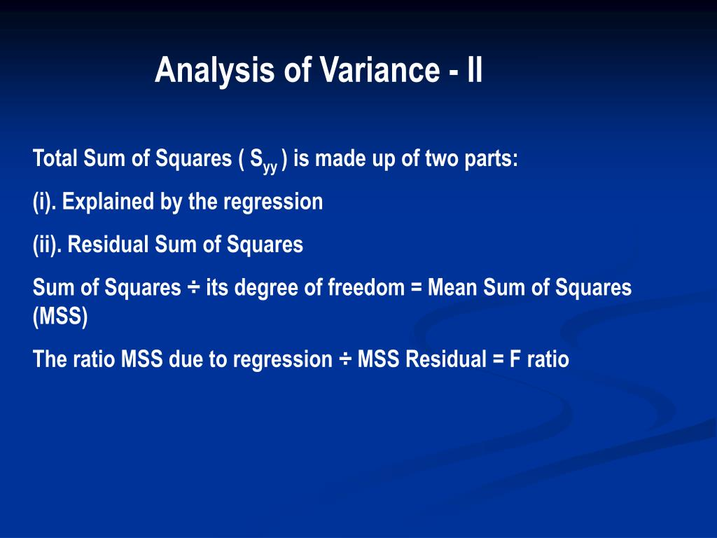 Analysis of Variance - II