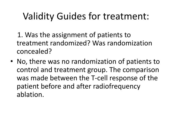 Validity guides for treatment