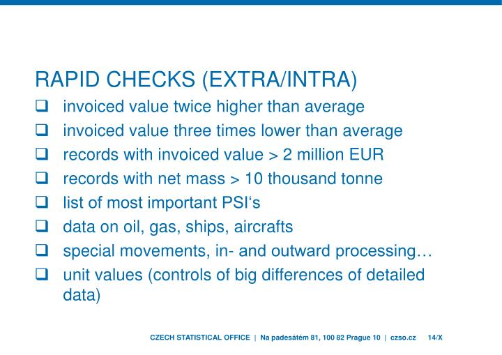 Rapid checks (Extra/Intra)