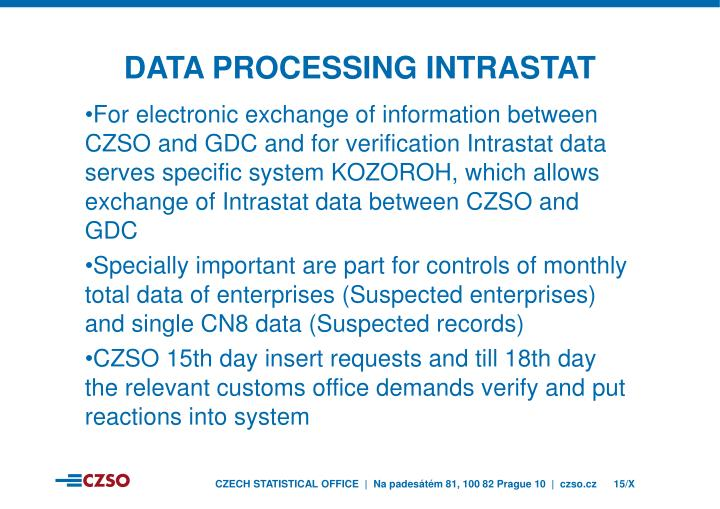 DATA PROCESSING INTRASTAT