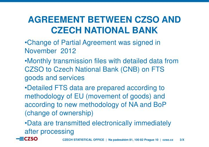 Agreement between czso and czech national bank