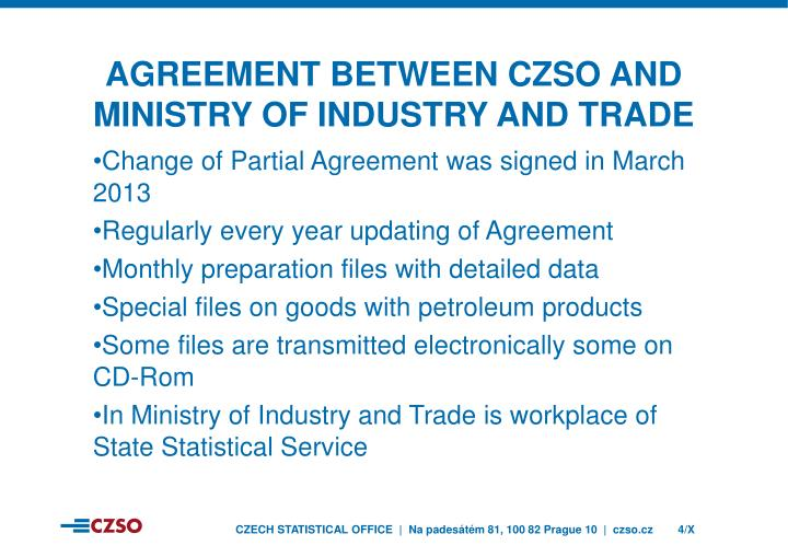 Agreement between czso and ministry of industry and trade