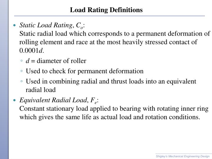 Load Rating Definitions