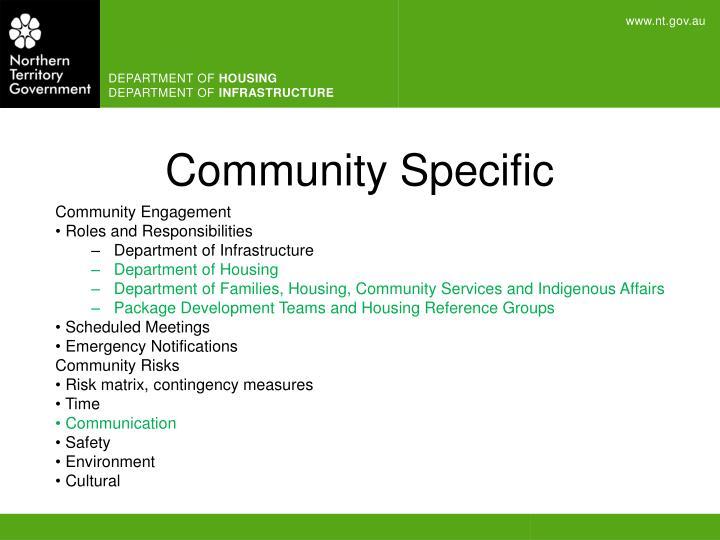 Community Specific