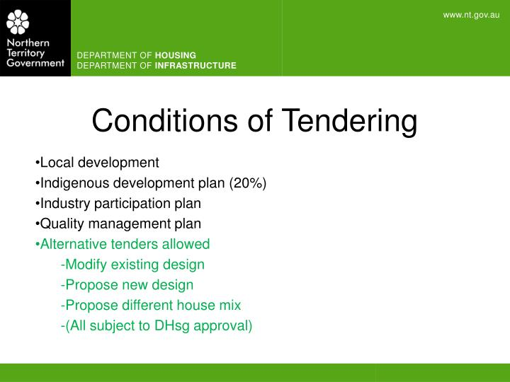 Conditions of Tendering