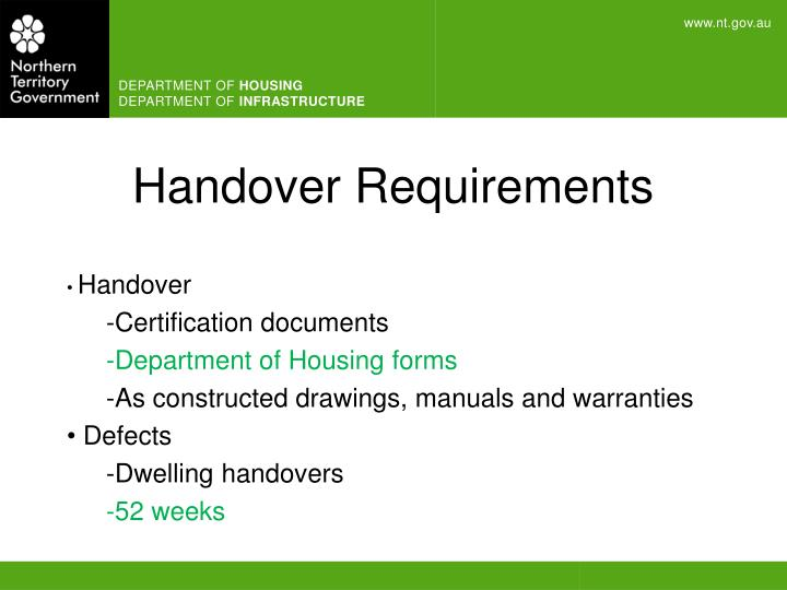 Handover Requirements