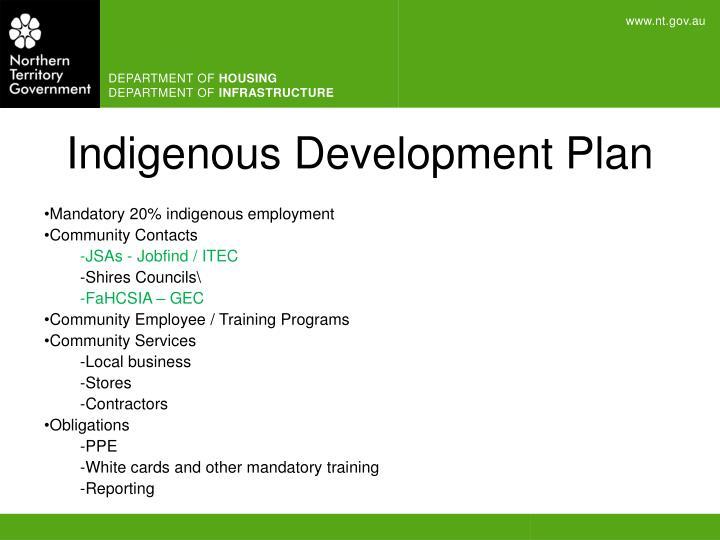 Indigenous Development Plan