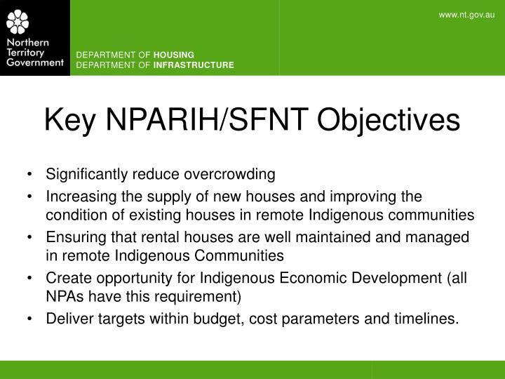 Key NPARIH/SFNT Objectives