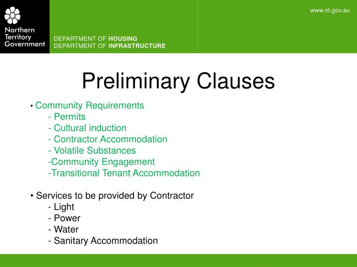 Preliminary Clauses