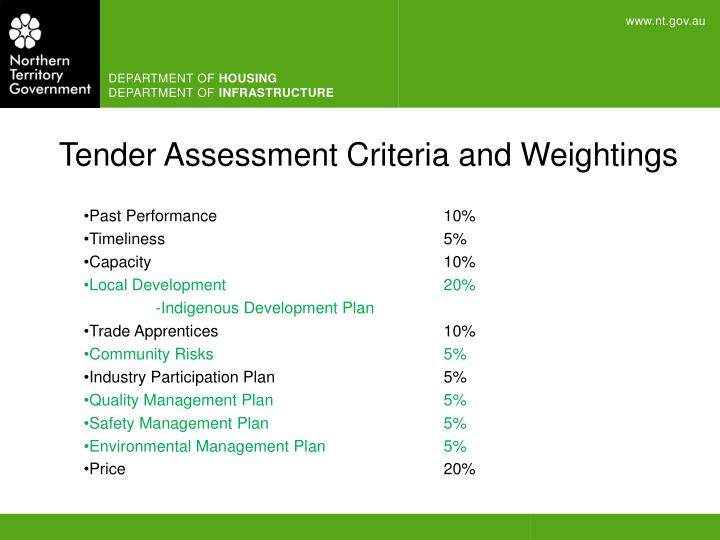 Tender Assessment Criteria and Weightings