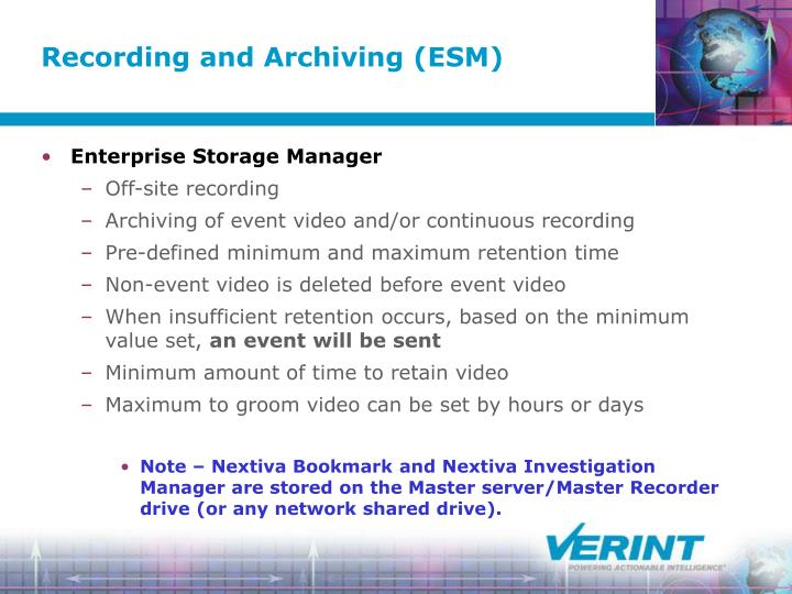 Recording and Archiving (ESM)