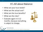 it s all about balance