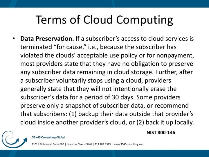Terms of Cloud Computing