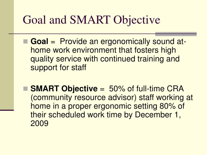 Goal and SMART Objective