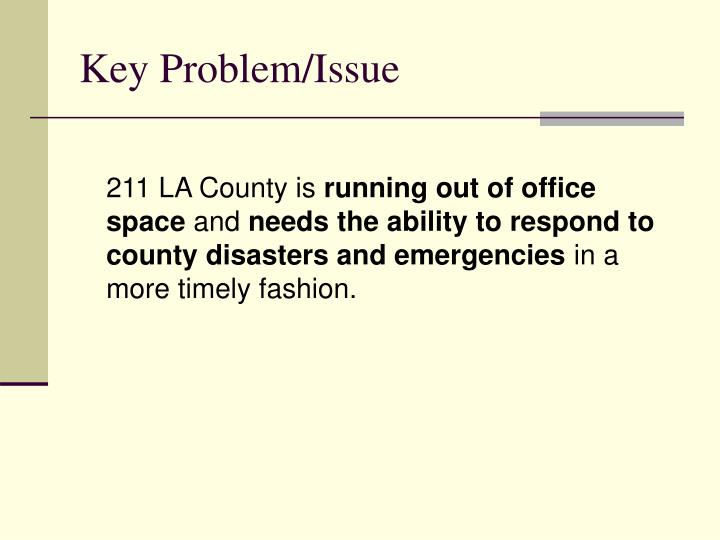Key Problem/Issue