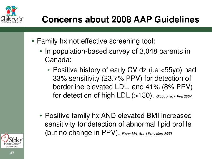 Concerns about 2008 AAP Guidelines