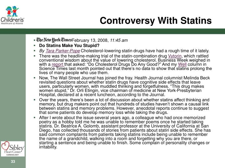 Controversy With Statins