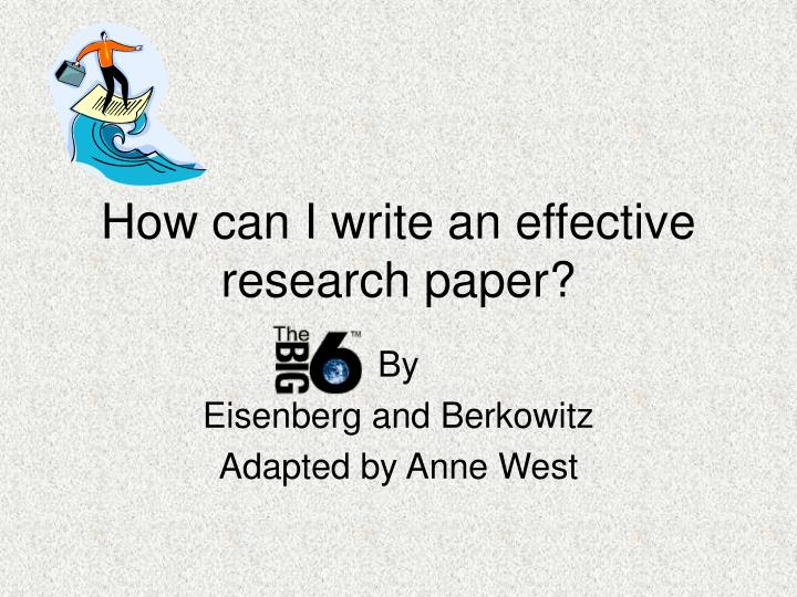 write research papers effectively