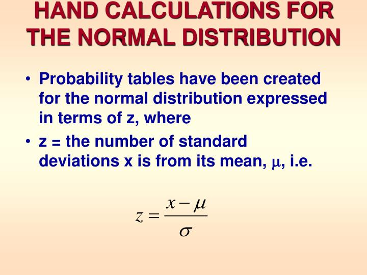 Hand calculations for the normal distribution