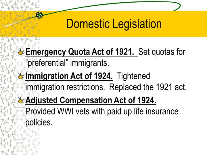 Domestic Legislation