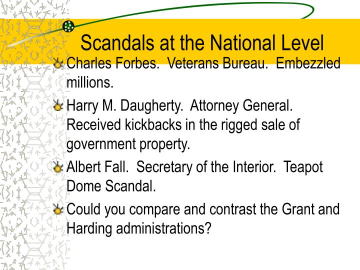 Scandals at the National Level