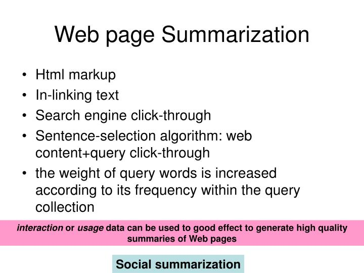 Web page Summarization