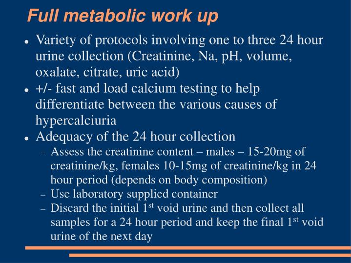 Full metabolic work up