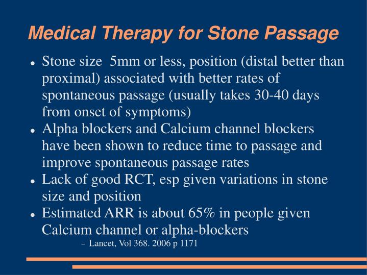 Medical Therapy for Stone Passage