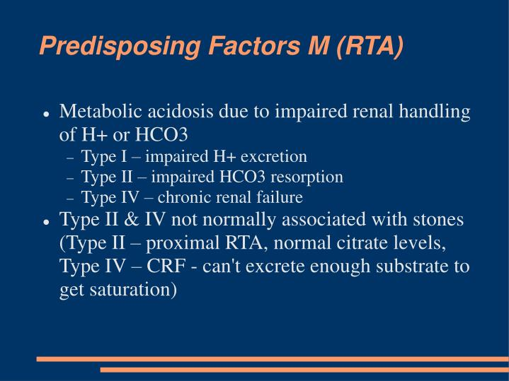 Predisposing Factors M (RTA)