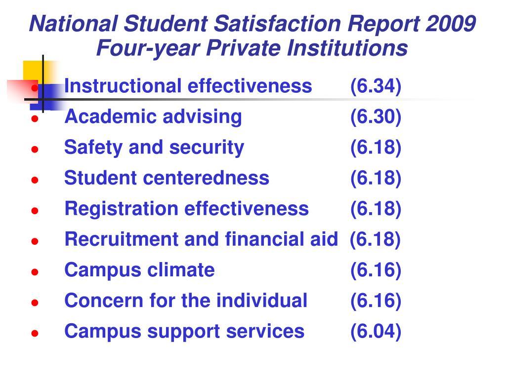 National Student Satisfaction Report 2009