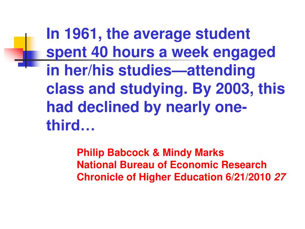 In 1961, the average student spent 40 hours a week engaged in her/his studies—attending class and studying. By 2003, this had declined by nearly one-third…
