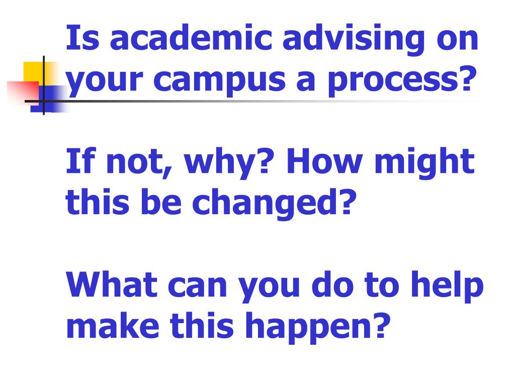 Is academic advising on your campus a process?