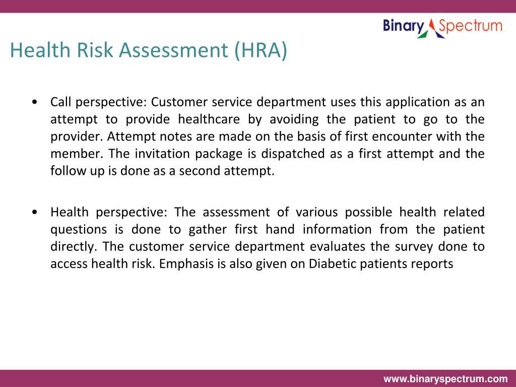 Health Risk Assessment (HRA)