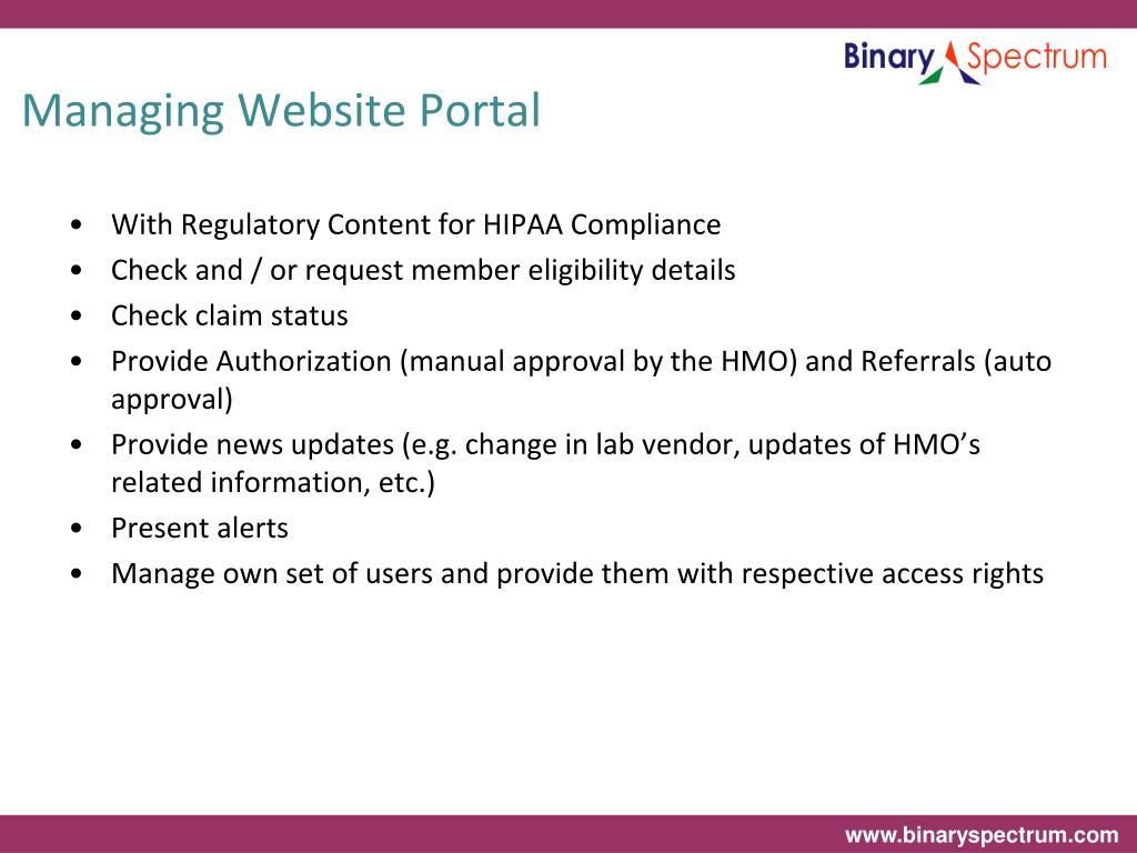 Managing Website Portal