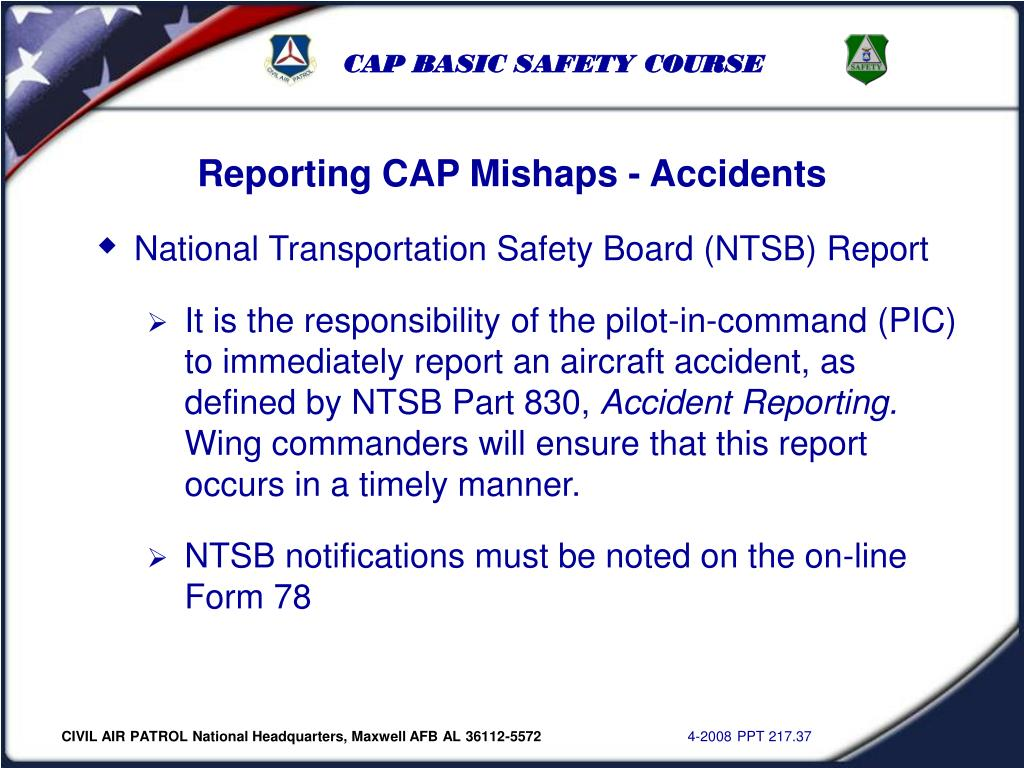 Reporting CAP Mishaps - Accidents