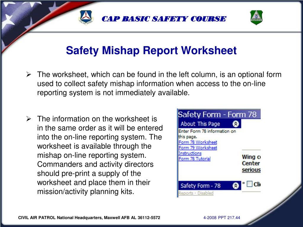 Safety Mishap Report Worksheet