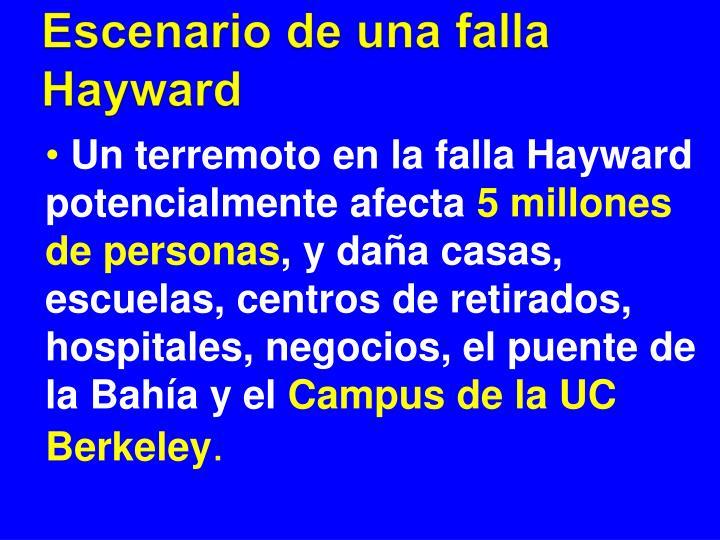 Escenario de una falla Hayward