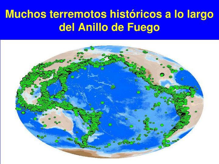 Muchos terremotos históricos a lo largo del Anillo de Fuego