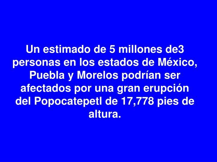 Un estimado de 5 millones de3 personas en los estados de México, Puebla y Morelos podrían ser afectados por una gran erupción del Popocatepetl de 17,778 pies de altura.