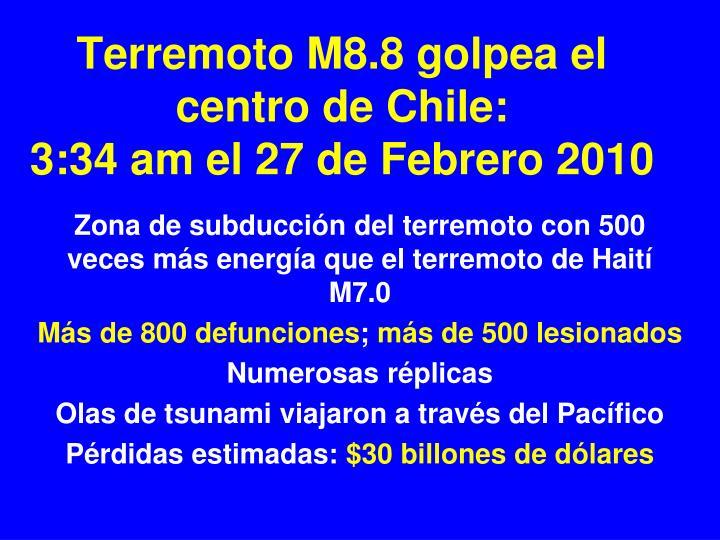 Terremoto M8.8 golpea el centro de Chile: