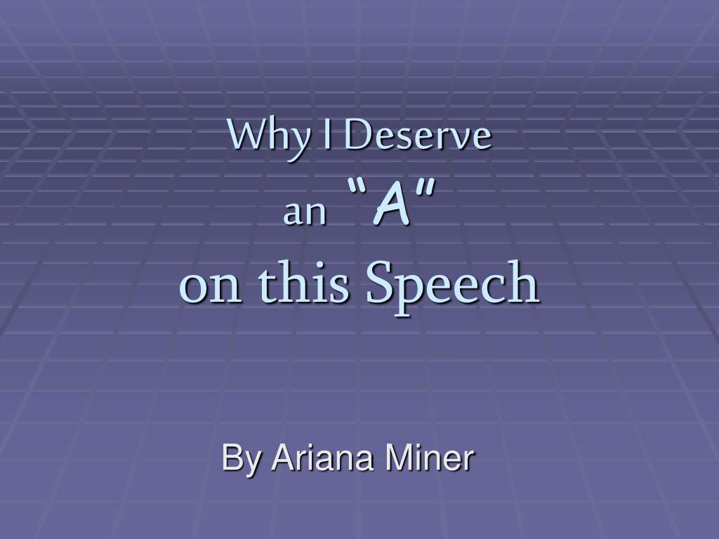 Why I Deserve