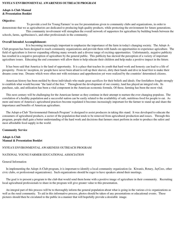 NYFEA'S ENVIRONMENTAL AWARENESS OUTREACH PROGRAM