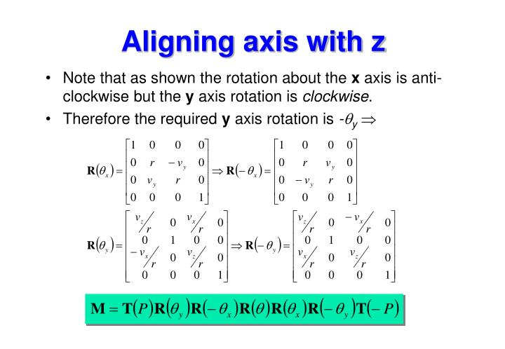 Aligning axis with z